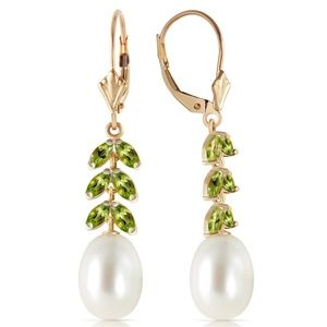 14K. GOLD LEVER BACK EARRING WITH PERIDOT & PEARLS